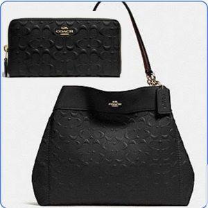💯 authentic Coach bag calfskin leather 2pcs set
